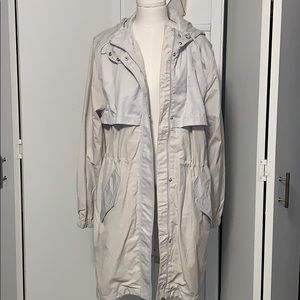Off white hooded trench coat
